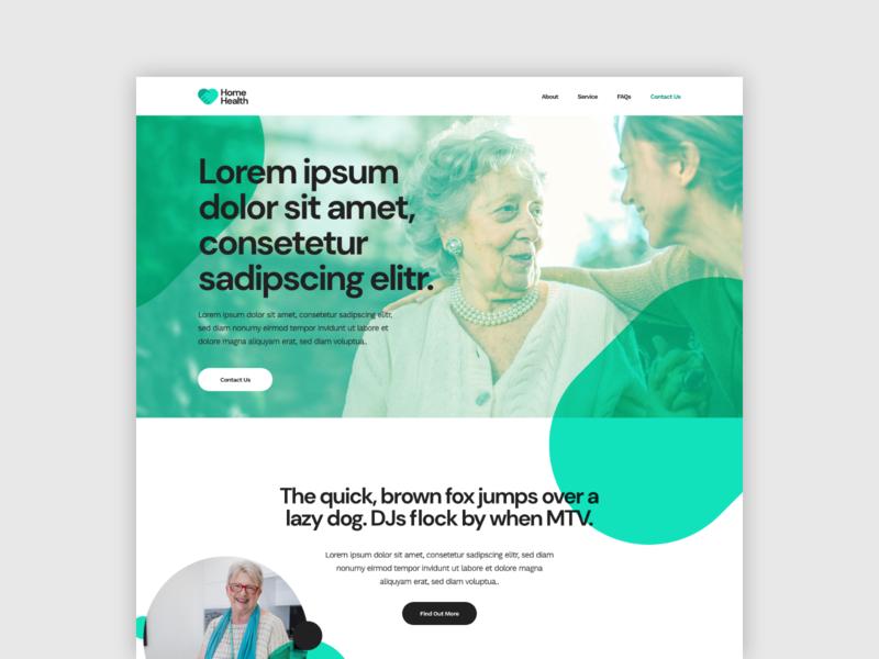 Home Health Website Concept branding flat typography web service healthcare care logo concept website adobe xd design