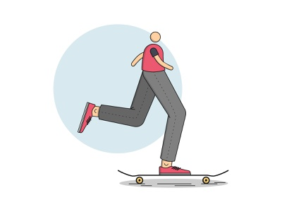 Skater cruising red skateboarding skateboard skate sk8 vector illustration