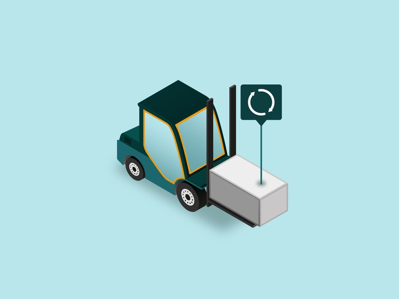 Forklift Rotation inventory vehicle industry supplychain forklift isometric illustration vector illustration
