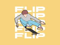 Skater Kickflip typogaphy flip kickflip tricks skater skateboarding skateboard skate sk8 vector illustration