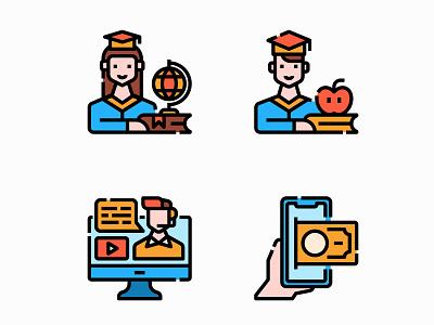 Online course university school online education vector illustration design filled icon