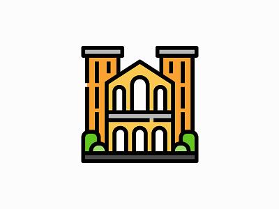 University building vector illustration filled icon school building architecture university