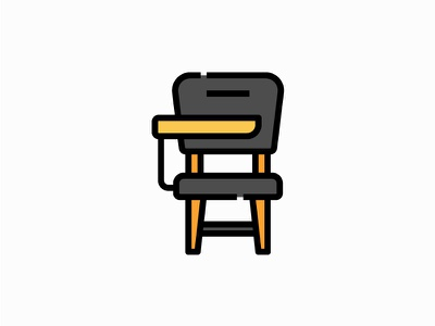 Lecture chair vector illustration filled icon university education furniture desk lecture chair