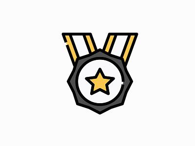 Medal vector illustration filled icon award badge achievement prize medal