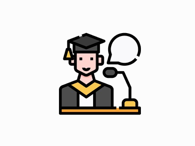 Graduation education vector illustration filled icon logo avatar user student graduation podium