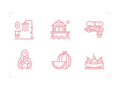 Summer icon pictogram icons set summer icons line sea fun season summer