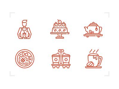 Coffee Shop icon set restaurant food sweet desert beverage drink line icon coffee shop