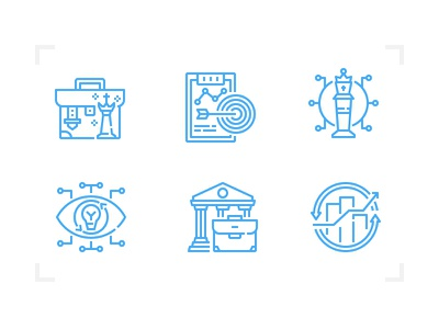 Strategy icon set investment profit chess tactics business line icon strategy