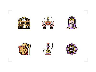 India nationality hinduism buddhism indian filled icon set