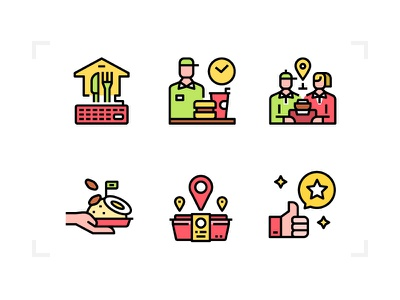 Food delivery application delivery food service business outline line filled icon