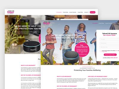 Insurance Website Design webdesign webdesigner desktop design pink desktop ui designs uxdesign ux website ui web design