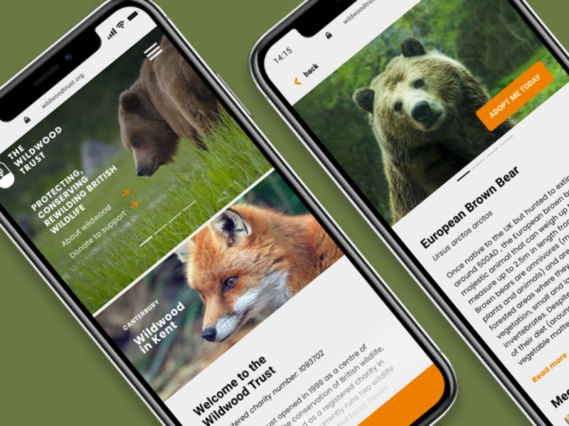 The Wildwood Trust Mobile Site Concept mobile ui mobileui charity uidesign wildlife uxdesign uxui revamp rebrand design system branding design brand identity brand logo website web ux branding ui design