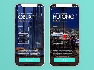 Mobile UI design for London Shard mobilewebsite mobiledesign mobile restaurant dine uidesign uxdesign web design branding design