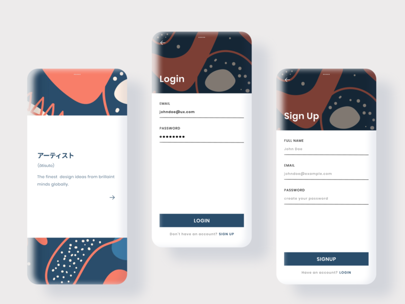 Daily UI - #001 uxui uidesigns dailyuichallenge splashscreen onboarding register login signup dashboard dailyui