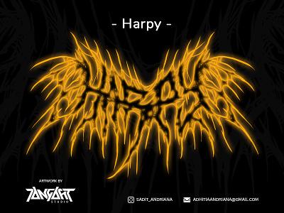 Dribble harpy deathmetal jangart horror design gore illustration drawing artwork typography font design font logo