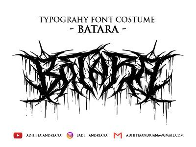 Batara illustraion font horror drawings deathmetal artwork font design typography death metal illustration costume band merch typeface handlettering fonts concept drawing jangart design