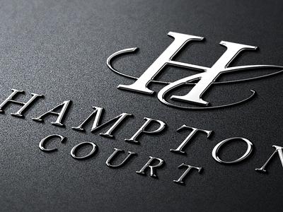 Hampton Court logo apartment graphic design metallic metal