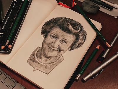 Dame Patricia Routledge sketch portraiture graphite portrait drawing