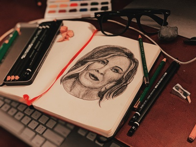 Moira Rose (Catherine O'Hara) portraiture portrait sketch graphite drawing