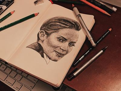Emily Blunt graphite portrait illustration sketch illustration portraiture portrait drawing