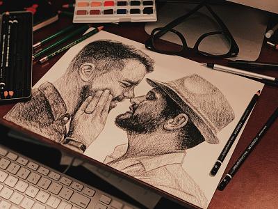 Couple Portrait wedding engagement couple gay gay pride portrait illustration sketch portraiture portrait graphite drawing