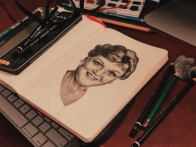 Happy birthday, Dame Angela Lansbury! inktober2019 inktober illustration portrait illustration sketch portraiture portrait graphite drawing