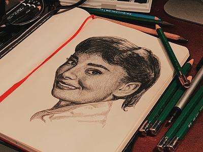 Audrey Hepburn inktober illustration pencils portraiture graphite