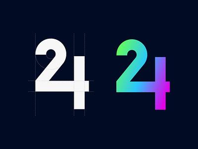 24 logo design logo a day logomaker logotype vector illustration 24 logomark number vector art vector logos logo app brand logoplace illustration branding design identity design brand identity logo brand design