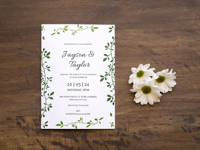 Free Green Leaf Wedding Invitation Template