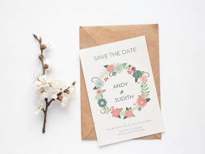 Free Round Floral Save The Date Invitation Template