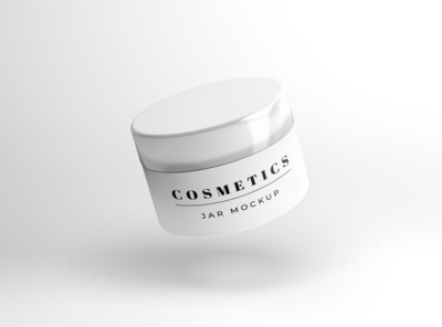 Free Floating Cosmetics Jar Mockup