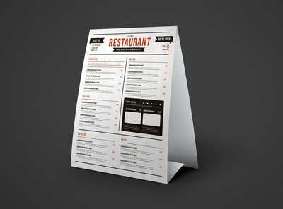 Free Restaurant Table Tent Menu Mockup