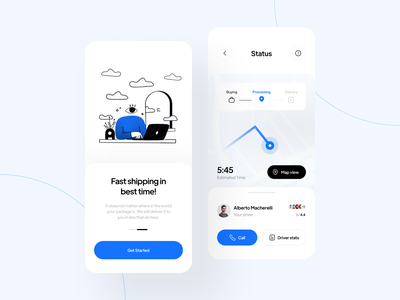 Delivery Concept App online shop interface location inspiration branding target neat illustration map shipping light blue concept delivery minimal design ux clean app ui