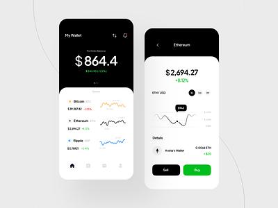 Cryptocurrency Concept App ux uidesign crypto app wallet app design chart bitcoin money clean minimal light app concept cryptocurrency crypto banking graphic design branding ui