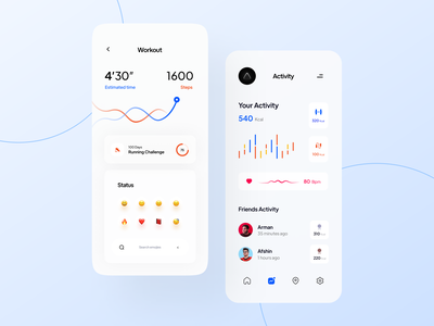 Healthy Concept App weight loss running home workout workout weightloss gym minimal chart graph profile weight sport fitness exercise analytics product clean design ui ux