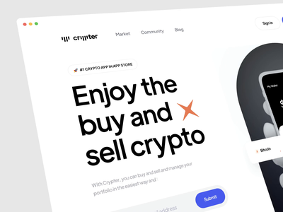 Crypter Interaction Concept animation motion finance exchange cryptourrency wallet invest graph bitcoin crypto app dashboard minimal hero header landing light prototype interaction ux ui