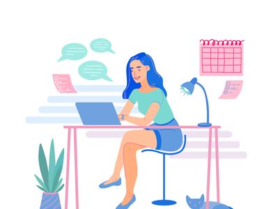 Freelancer Girl at th Desk cartoon work woman vectorart vector home girl freelancer character design character