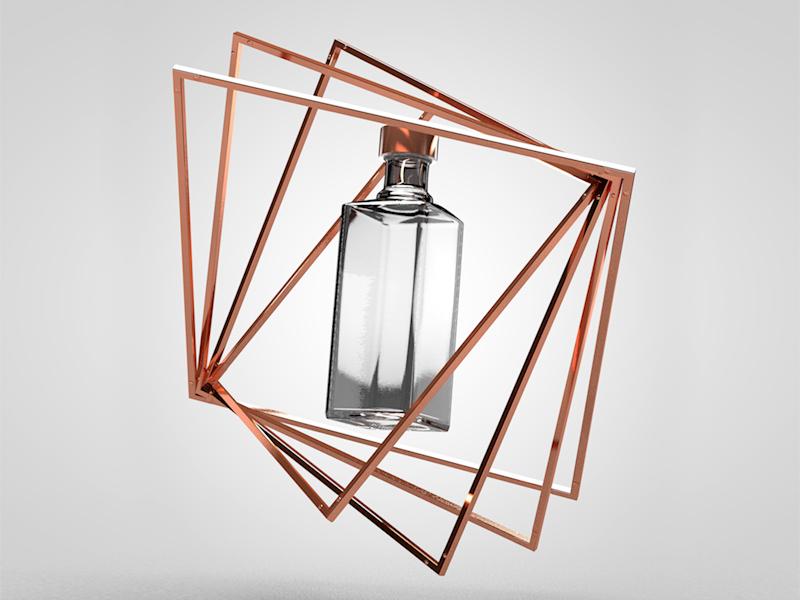 Eliksir bottle copper bottle cinema4d 3d key visual eliksir