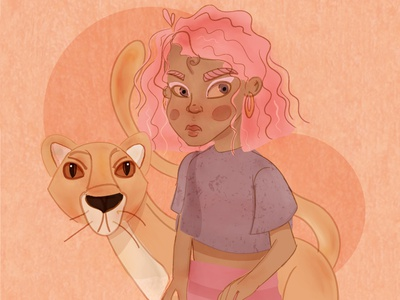 Safari adobe illustrator yellow bright colorful illustraion cute cute animal characterdesign orange pink lion king lion girl character african african animals