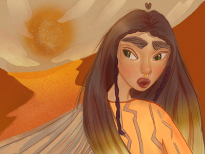 Escape from Sahara orange sun bookillustration adobephotoshop bright asiangirl yellow illustration desert girlcharacter characterdesign