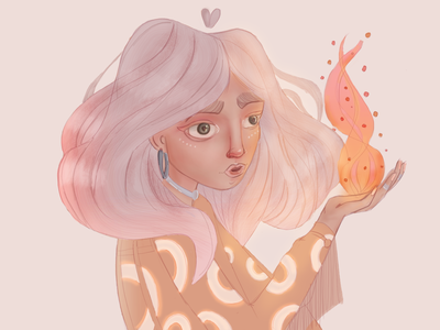 Magic fire pink hair witchy fire light girl character characterdesign yellow illustraion gradient colorful