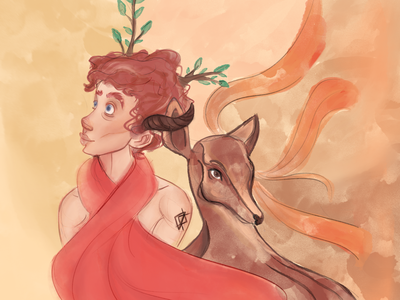Duet june summer texture aquarelle cartoon illustration procreate art procreateapp procreate faun deer characters characterdesign cartoon
