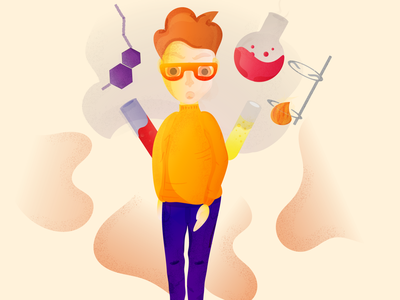 Chemist🧪 flat boy game character texture grain abstract fun glasses colorful vector illustraion boy chemistry chemist shadows character