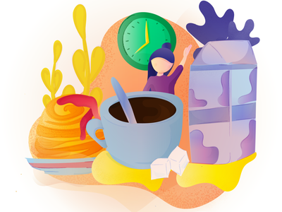 It's breakfast time! plants shadow grain texture sugar blue orange sweets coffee cup coffee milk girl illustration girl character flat yellow purple bright vector colorful abstract gradient