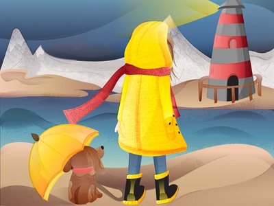 To the lighthouse scarf red landscape illustration nature mountains sea lighthouse dog character girl flat texture vector adobe illustrator illustration yellow bright illustraion colorful gradient