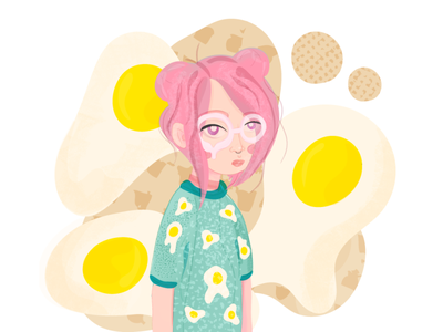 PINK HEAD girl pink hair texture character yellow adobe illustrator colorful dtiys concept girl illustration girl character egg bright vector illustraion gradient