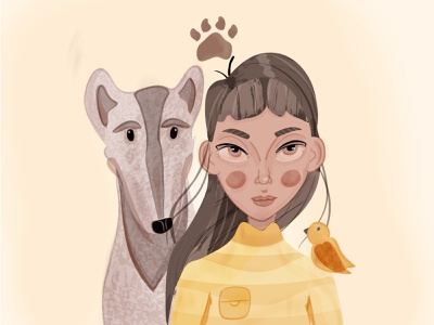 Be friendly🐶🧡 vector abstract friends friendship characters paw pastel yellow girl character dog dog illustration pet girl girl illustration illustraion colorful character design