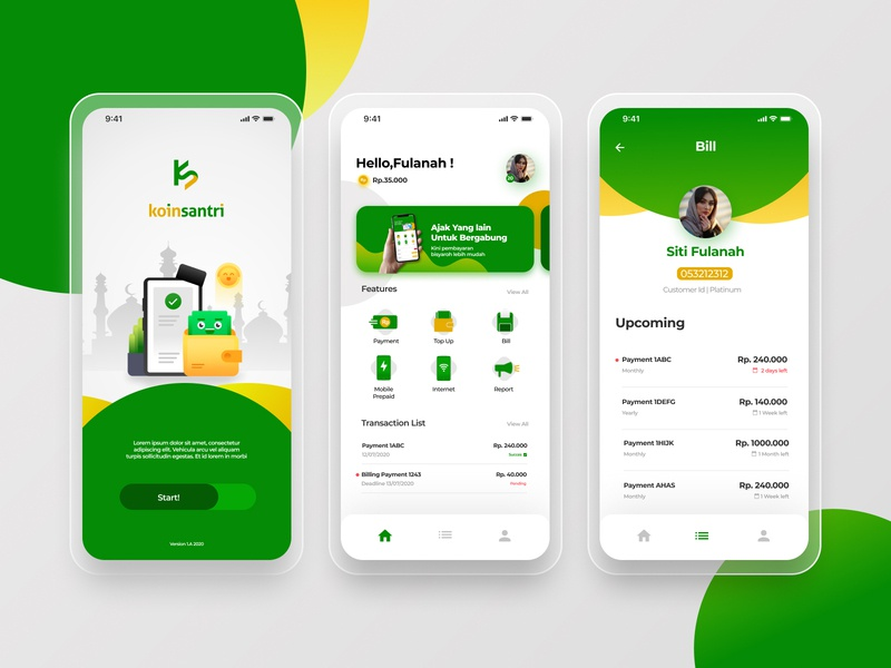 Koin Santri product design school payment illustration ui finance finance app app