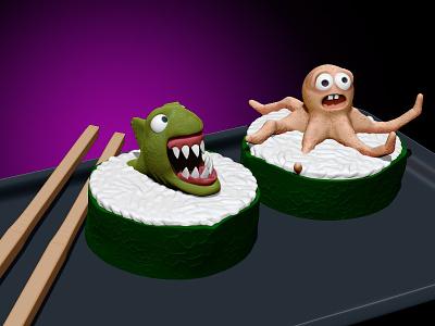 Sushi Rolls zbrush sushi