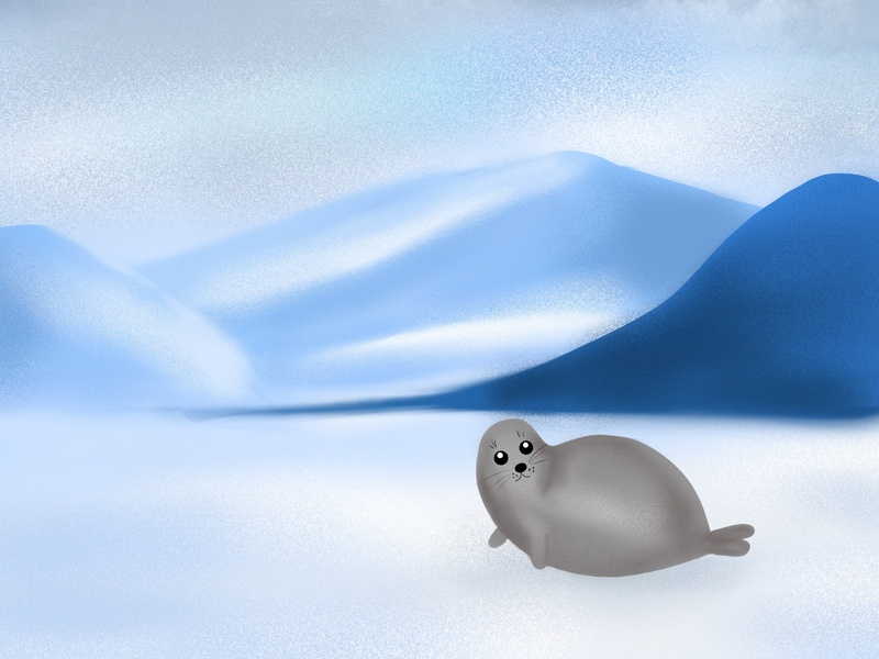 The Mother Seal blue pole seal procreate graphicdesign drawing character artwork artist art illustrator illustration graphic design